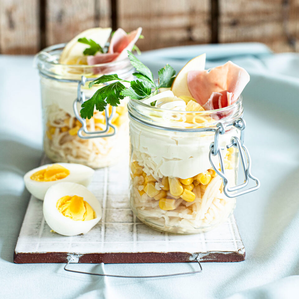 Schichtsalat mit gekochtem Schinken Rezept  Kchengtter