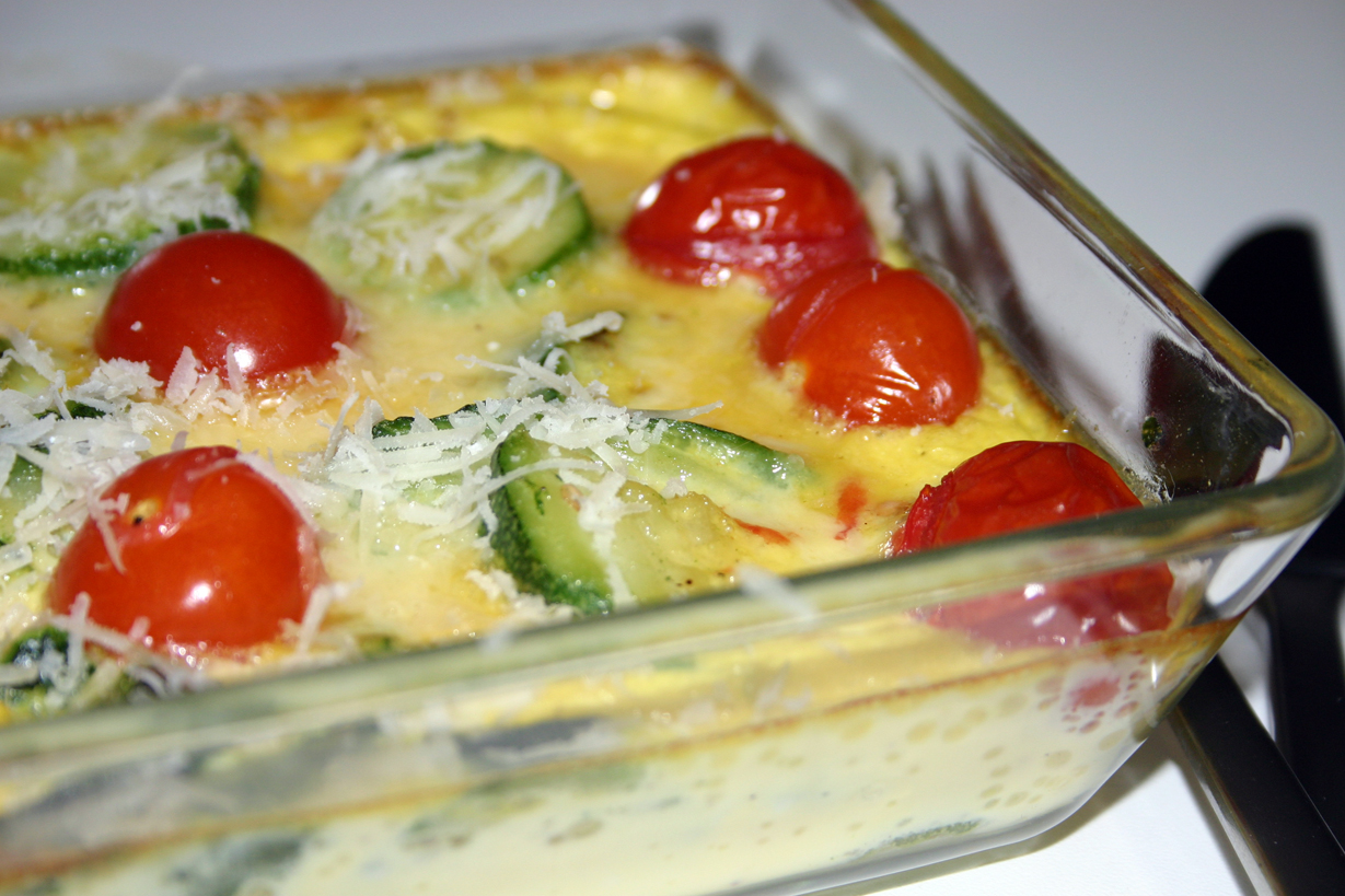 Flan de courgettes et tomates cerises