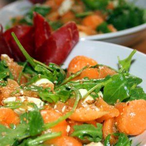 Salade féta, melon et roquette