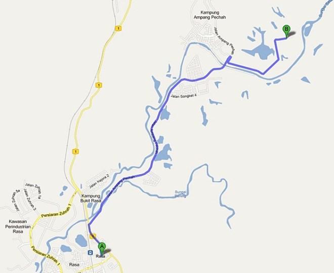 peta lokasi MRSM Kuala Kubu Bharu