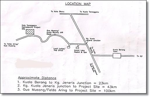 lokasi hidroelektrik  tasik kenyir hulu terengganu