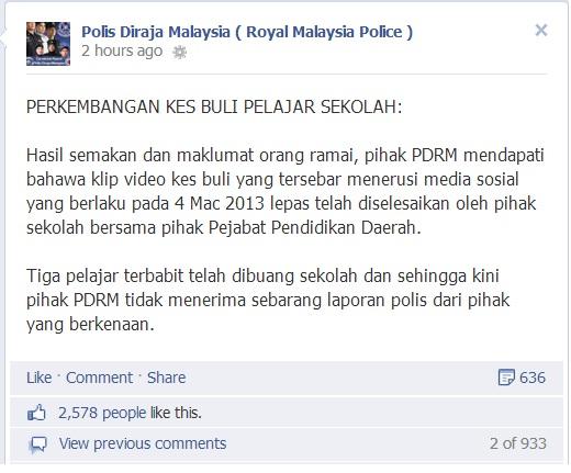 laporan polis kes buli ketua kelas