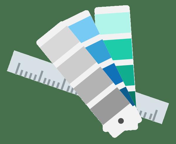 Illustration Arbeitsablauf Corporate Design Reinzeichnung, Farben, Druck, Feinschliff, offene Vorlagen Word, druckfertig