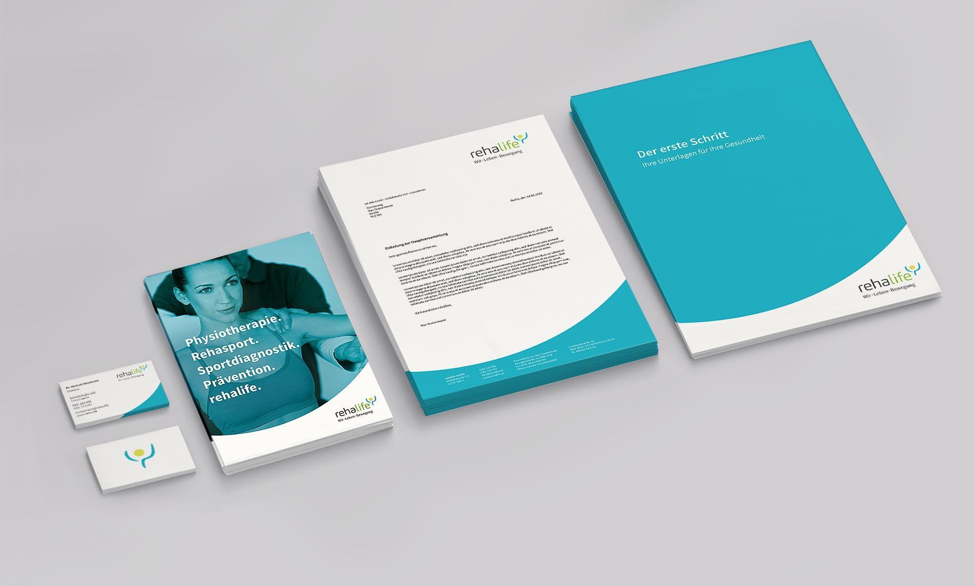 Kuki Design Corporate Design rehalife Gestaltung Geschäftspapier, Flyer, Logogestaltung, Farbgebung, Mockup