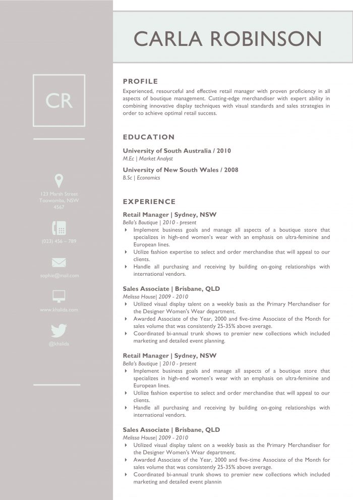 most used resumes template