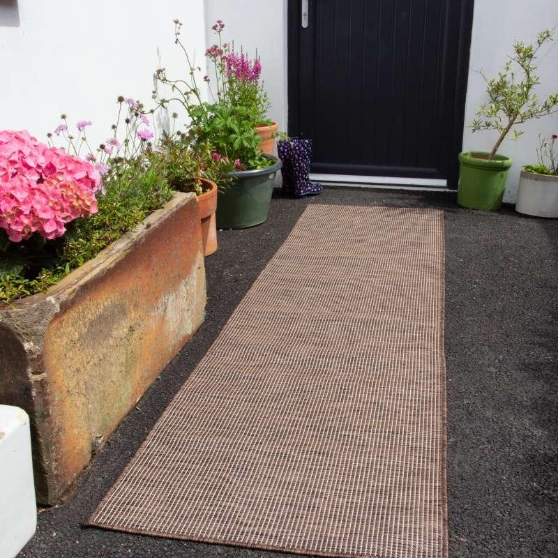 brown mottled indoor outdoor runner rug patio