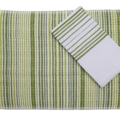 Green Kitchen Towels Small Outdoor Kitchens Kuks Cuisine Set Of Two Stripe Pattern