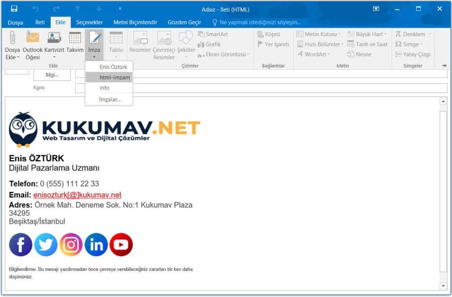 Html mail imzası oluşturma