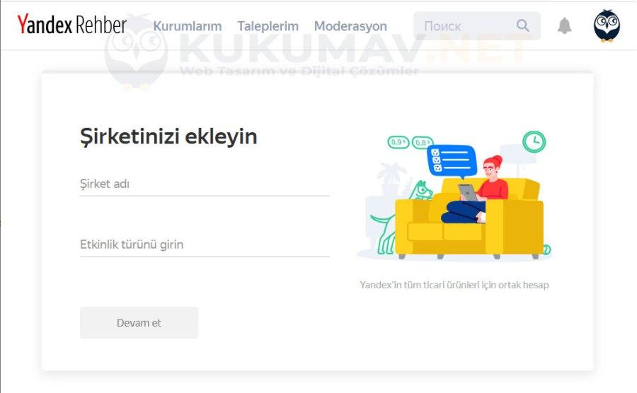 Yandex Haritalara Şirket Eklemek