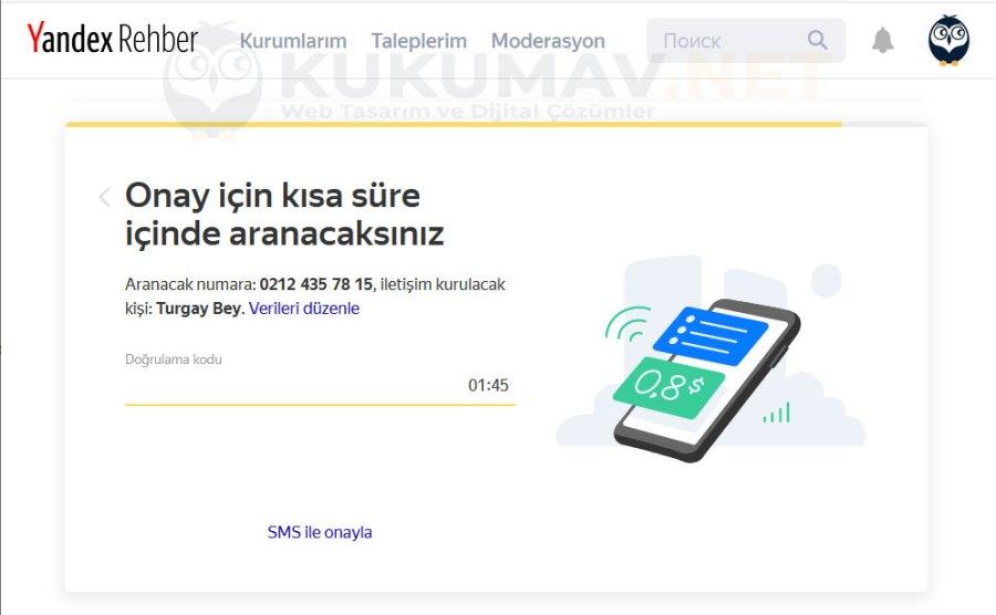 Yandex Haritalar Firma Onaylama