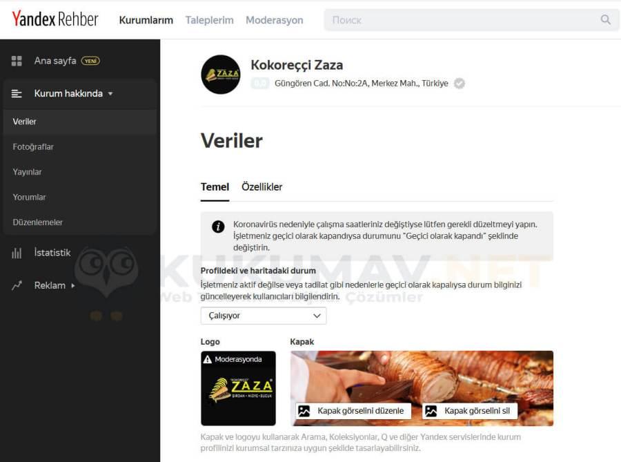 Yandex Rehber firma ekleme