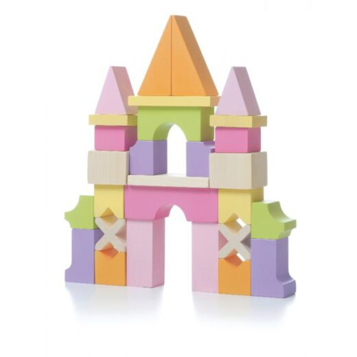 set-de-bloques-de-construccion-de-madera-castillo