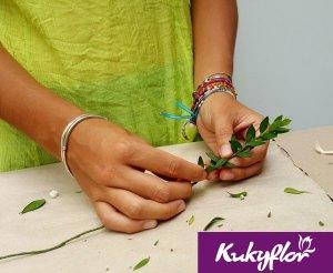 Follaje y cinta floral, Vincha de Flores