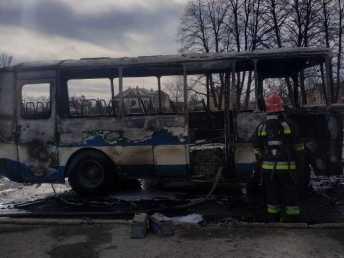 На Львівщині згорів автобус