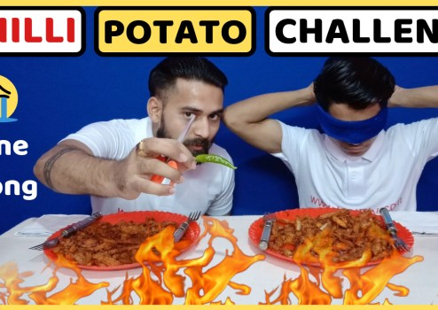 chilli potato eating challenge