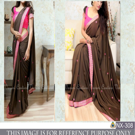 Srk-Brown-Color-Georgette-Embroidered-Saree