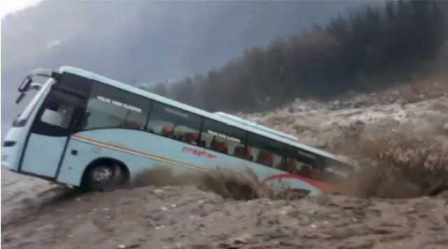 Bus Fall in River Beas Flood