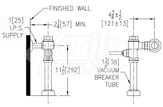 Zurn Z6200-HET-YB-YC MetroFlush Manual Exposed Flush Valve