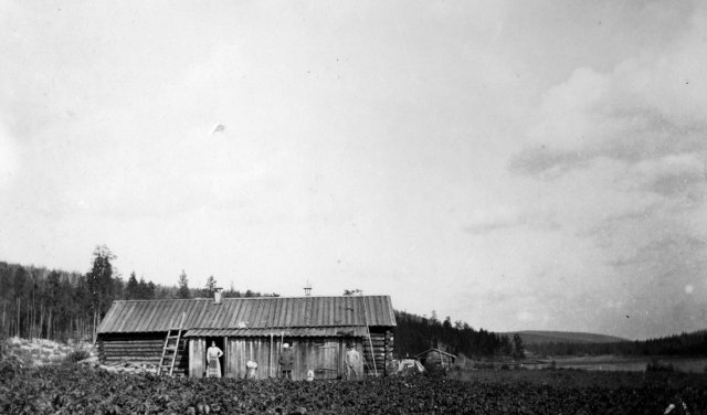 Ritakoksen kämppä 1920-luvun alussa oli Kivekkään unelma Lapin kullankaivun keskuksesta. Kuva Charles Hill/Sjöblomien kuva-arkisto.