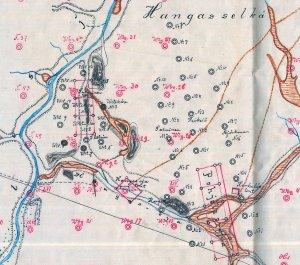 Tälläiseltä näytti Hangasojan ja Kuivakurun valtauskartta 1901, jolloin kalliokultakuume oli puhkeamassa. Kartta GTK:n arkistosta.