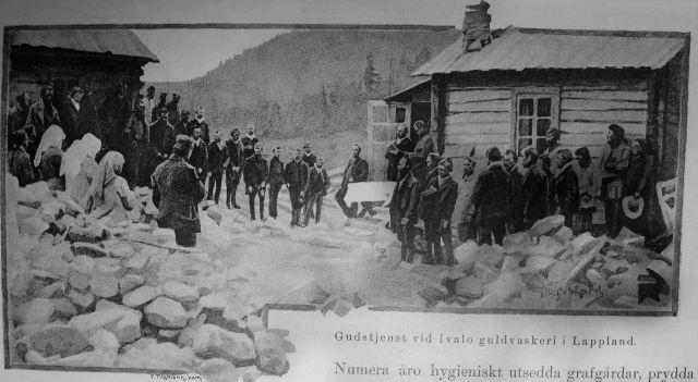 Albert Gebhardin kuva jumalanpalveluksesta Ivalojoen kullanhuuhtomoilta, mutta mistä.