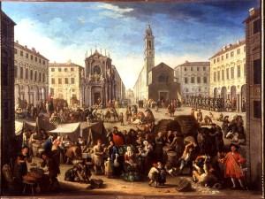 Giovanni Michele Graneri, Piazza S. Carlo con mercato (1752). Torino, Palazzo Madama. Esposto alla Mostra sul Barocco Piemontese, Torino 1963