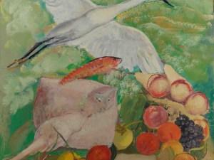 Arturo Dazzi, Airone con razza e frutta, tempera su compensato, San Marcello Pistoiese, Collezione Andrea Dazzi