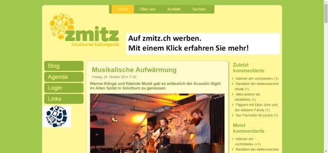 Screenshot von zmitz.ch, der relativ neuen Solothurner Kulturagenda mit Blog