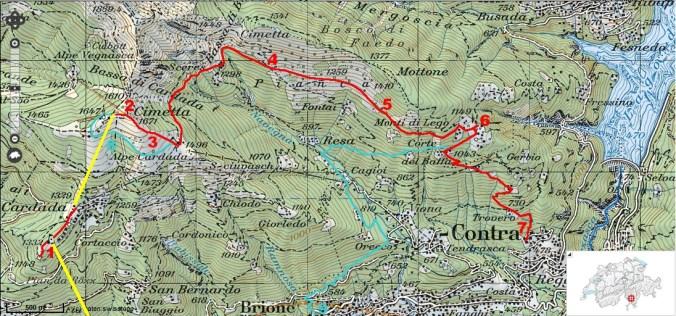 Während wir 2012 über die Monti di Lego nach Contra (7) hinabwanderten (rot), war heuer Brione (9) das Ziel (türkis). Die Zahlen in der Karte entsprechen den Zahlen im Text.