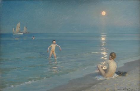 Peder Severin Krøyer (1851-1909), Badende drenge en sommaraften ved Skagens strand, 1899