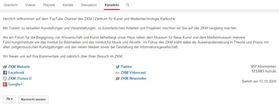 Kanalinfo des ZKMs bei Youtube