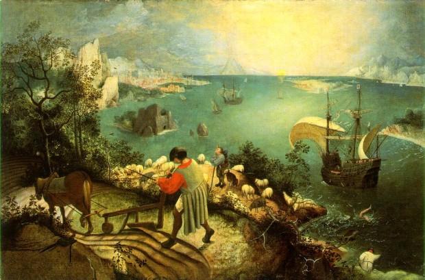 """Pieter Brueghel den eldre - """"Ikaros' fall"""""""