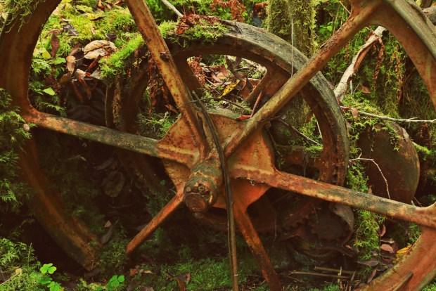 Hjul fra gammel slåmaskin i Olteruddalen
