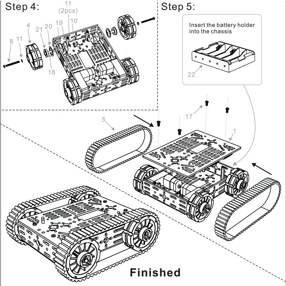 Kuman Smart 4wd wifi Obstacle Avoiding, Line Tracing Motor
