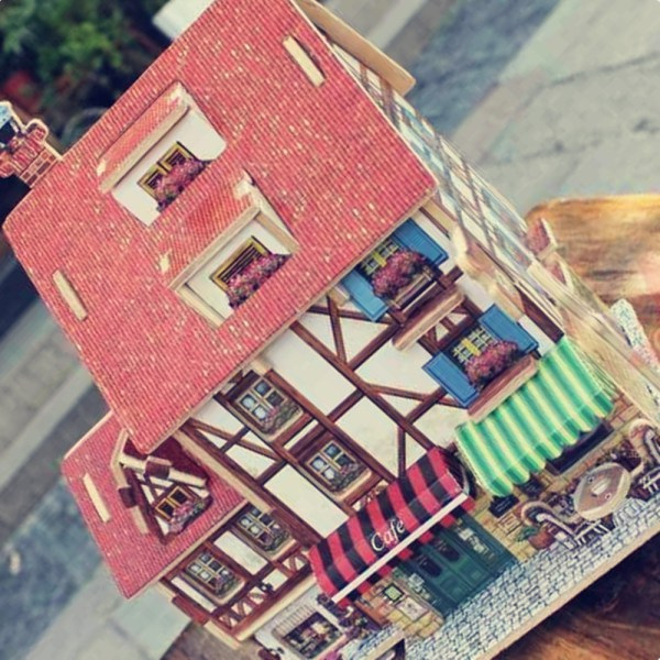 Creative 3d Wood Puzzle Diy French Style Coffee House