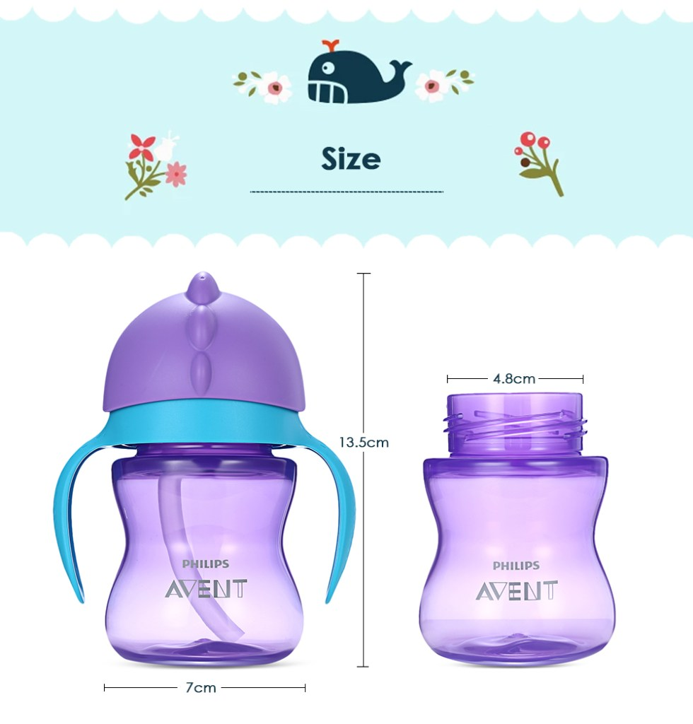 Philips Avent 7oz / 200ml Baby Soft Handle Straw Bottle Training Drinking Cup