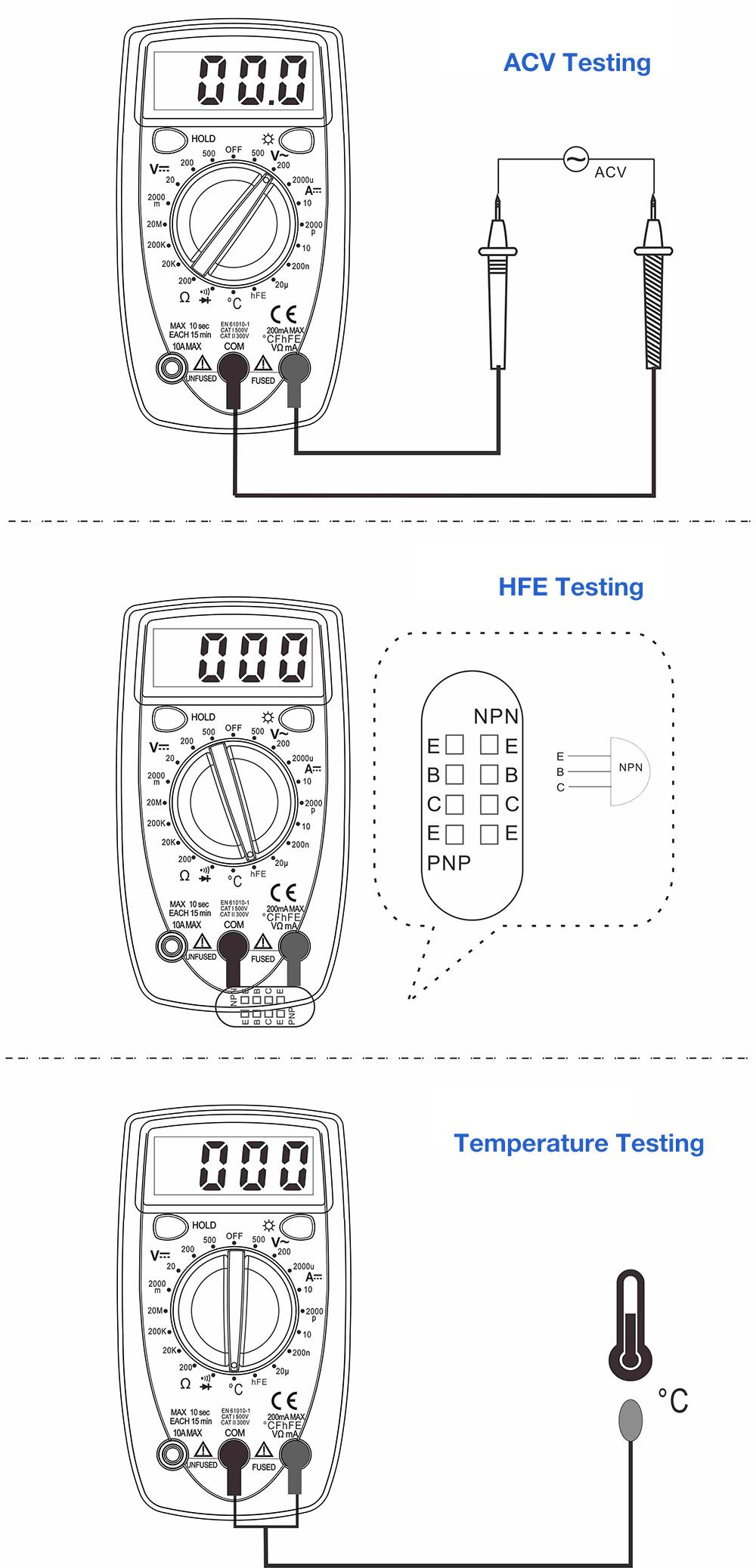 WHDZ DT33B LCD DIGITAL MULTIMETER BACKLIGHT AC DC TESTER