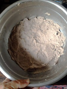 pounded taro left to ferment