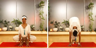 Charisma Whitefeather of Siesta Yoga in Los Angeles demonstrating the Kundalini Yoga posture Frog Pose