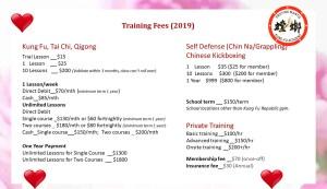 Praying Mantis Kung Fu Academy training fee