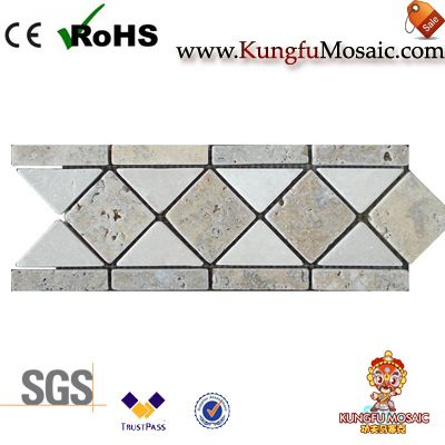 light grey travertine mosaic border tile