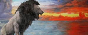 Löwe am Meer - Öl auf Leinwand