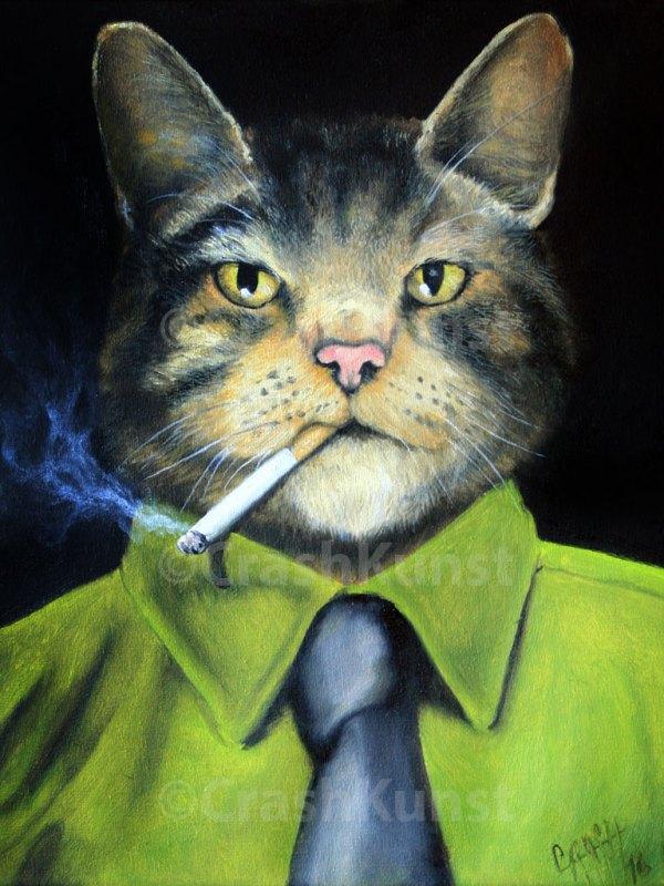 Kunstbild vom rauchendem KAter