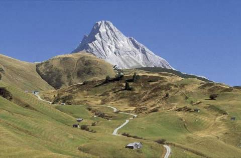 Siepmann Blick zum Biberkopf Tirol Wiesen Felder Strae Pass Kunstdruck