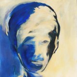 Kopf in Blau und Gelb, Acryl auf Leinwand 90x80cm