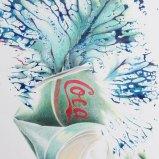 Coca Col Art, Farbstift auf Papier + Abklatsch mit Acryl 50x60cm