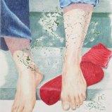 Rote Socke, Farbstift auf Papier + Abklatsch mit Acryl 50x60cm