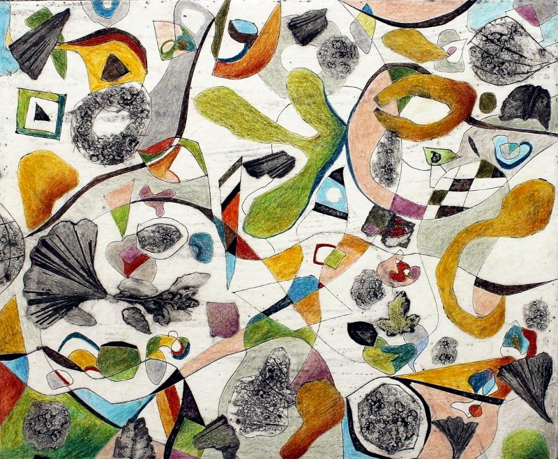 Anja Kaufhold - o. T. (2016), colorierte Collagrafie, 26 x 22 cm (KunstGalerieHans)