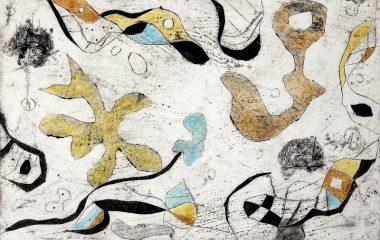 Anja Kaufhold, o.T., colorierte Collagrafie, 2015, 15 x 24 cm (KunstGalerieHans)