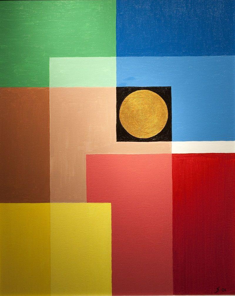 Bernd Seidel - Der Goldene Punkt (2004), Acryl auf Leinwand, 40 x 50 cm
